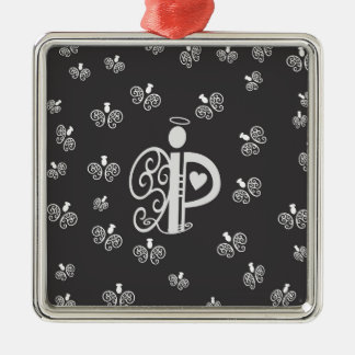 Letter P Initial Monogram with Angels Silver-Colored Square Decoration