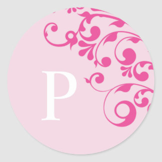 Letter P Monogram Pink Wedding Envelope Seals Round Sticker