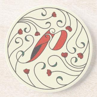 Letter P Monogram Round Sandstone Drink Coaster