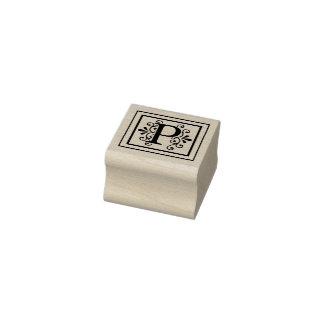 Letter P Monogram Rubber Stamp