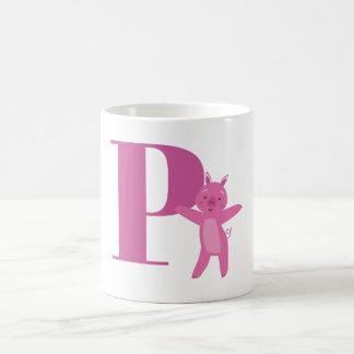 Letter P & Pig Basic White Mug