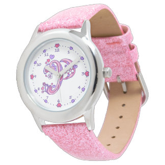 Letter P pink monogram personalized girls watch