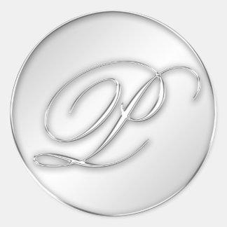 Letter P script initial faux silver monogram favor Sticker