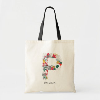 Letter P | Whimsical Floral Letter Monogram I Tote Bag
