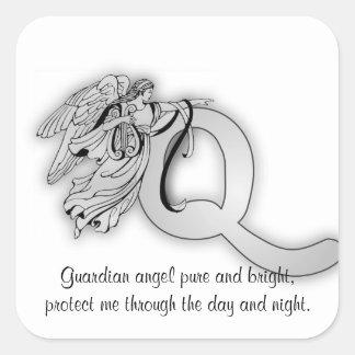 Letter q angel monogram alphabet sticker
