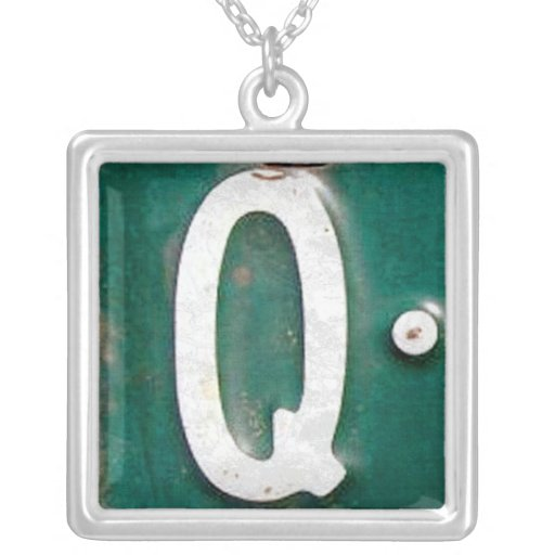 Letter Q License Plate Vintage Necklace