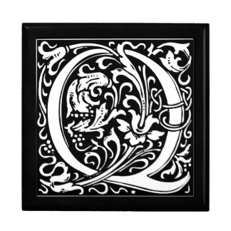 Letter Q Medieval Monogram Vintage Initial Large Square Gift Box