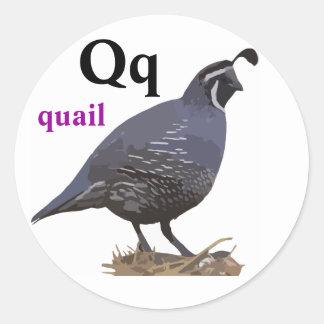 Letter Q quail Stickers