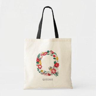 Letter Q   Whimsical Floral Letter Monogram I Tote Bag