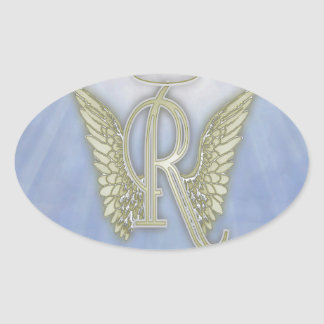 Letter R Angel Monogram Oval Sticker