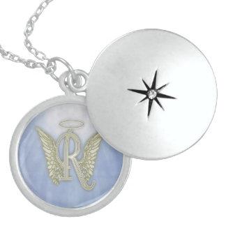 Letter R Angel Monogram Round Locket Necklace