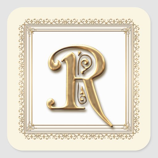 Letter R - Gold & Lace Classic Formal Wedding Seal Sticker