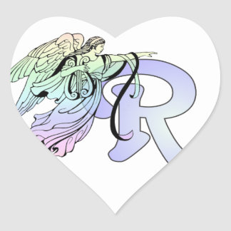 Letter R Initial Monogram Guardian Angel Blue Past Heart Stickers
