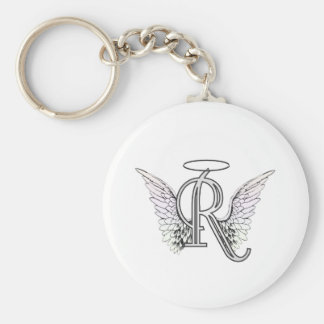 Letter R Initial Monogram with Angel Wings & Halo Key Ring