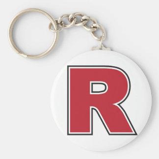 """Letter R Monogram 2.25"""" Basic Button Keychain"""