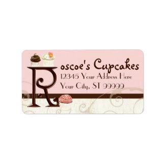 Letter R Monogram Dessert Bakery Address Labels