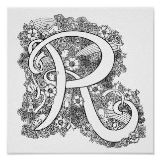 Letter R monogram tangle art coloring in poster