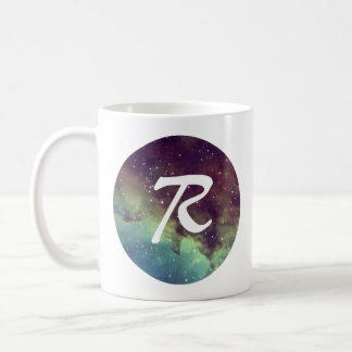 Letter 'R' Name Mug with Space Print Personalize
