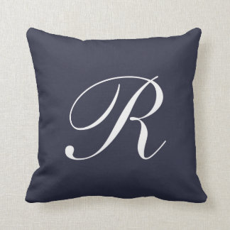 Letter R Navy Blue Monogram Pillow
