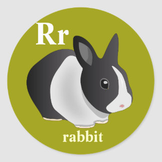 Letter R rabbit Stickers
