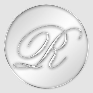 Letter R script initial faux silver monogram favor Classic Round Sticker
