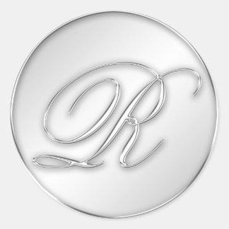 Letter R script initial faux silver monogram favor Round Stickers