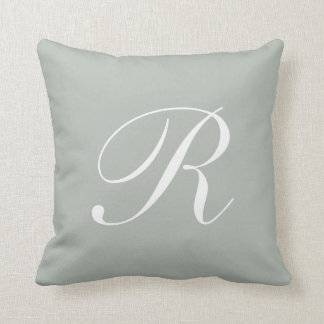 Letter R Silver Gray Monogram Pillow
