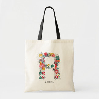 Letter R   Whimsical Floral Letter Monogram I Tote Bag