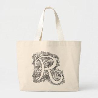 Letter R zen doodle monogram tote bag