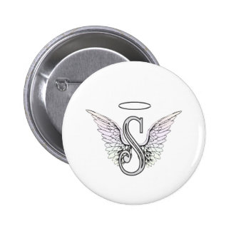 Letter S Initial Monogram with Angel Wings & Halo 6 Cm Round Badge