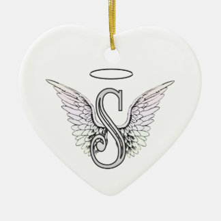 Letter S Initial Monogram with Angel Wings & Halo Ceramic Ornament