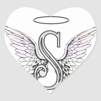 Letter S Initial Monogram with Angel Wings & Halo Heart Sticker