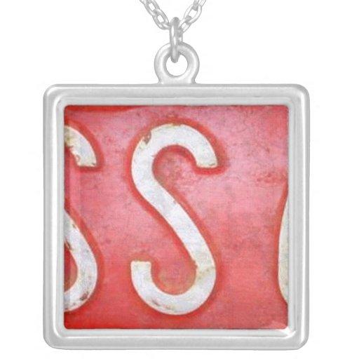 Letter S License Plate Vintage Necklace