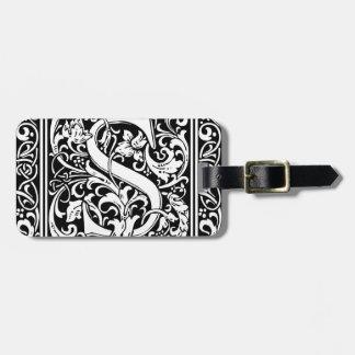 Letter S Medieval Monogram Vintage Initial Bag Tag