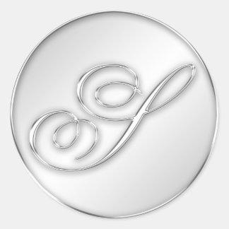 Letter S script initial faux silver monogram Round Sticker