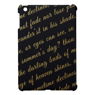 Letter Script Faux Gold Typography Poetry Black Case For The iPad Mini