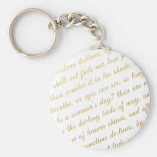 Letter Script Faux Gold Typography Poetry White Key Ring