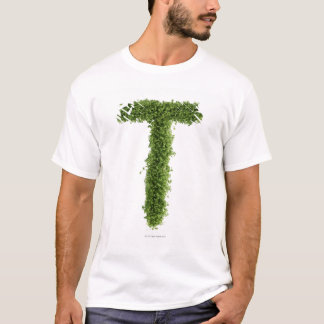 Letter 'T' in cress on white background, T-Shirt