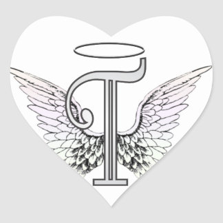 Letter T Initial Monogram with Angel Wings & Halo Heart Sticker
