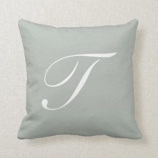 Letter T Silver Gray Monogram Pillow