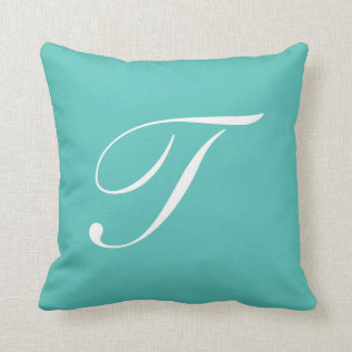 Letter T Turquoise Monogram Pillow