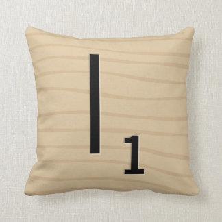 Letter Tile Pillow: Wood I/J (5 of 17) Throw Pillow