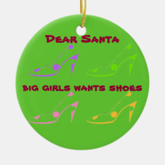 Letter to Santa for Women Who Love Shoes Ceramic Ornament