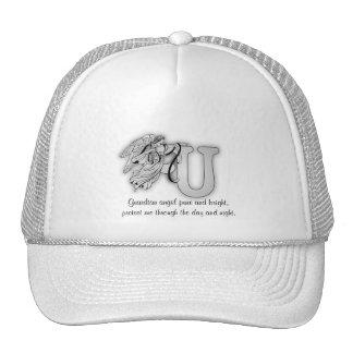 Letter U angel monogram alphabet initial Hat