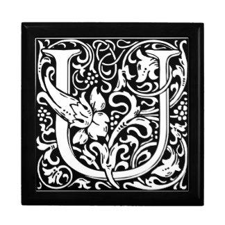 Letter U Medieval Monogram Vintage Initial Trinket Boxes