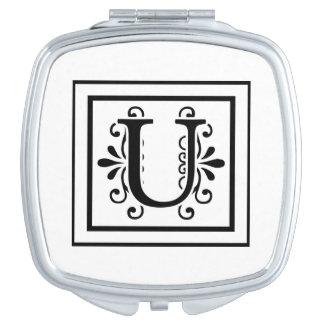 Letter U Monogram Compact Mirrors