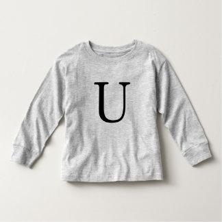 Letter U monogrammed black initial t shirt