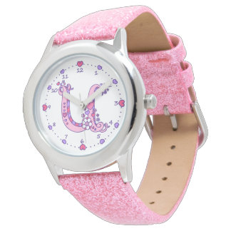 Letter U pink monogram personalized girls watch