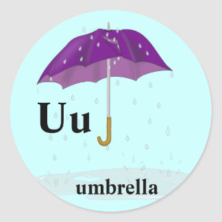 Letter U umbrella Stickers