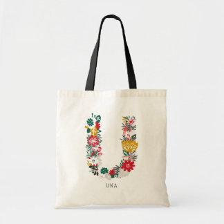 Letter U | Whimsical Floral Letter Monogram I Tote Bag
